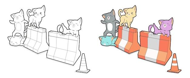 Pagina da colorare di gatti con barriere per bambini