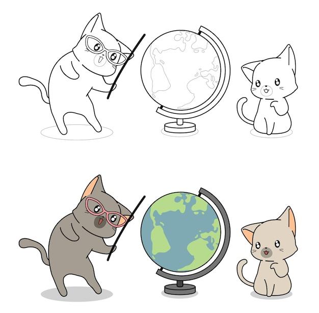 Pagina da colorare di cartoni animati di gatti e mondo