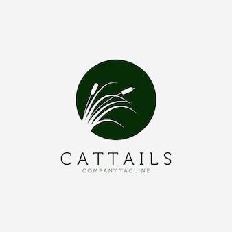 Cattails logo disegno vettoriale illustrazione vintage, ispirazione floreale, intelligente reed logo