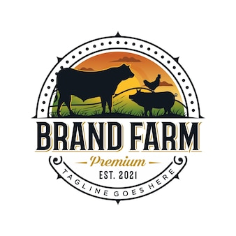 Modello di progettazione del logo dell'allevamento di bestiame