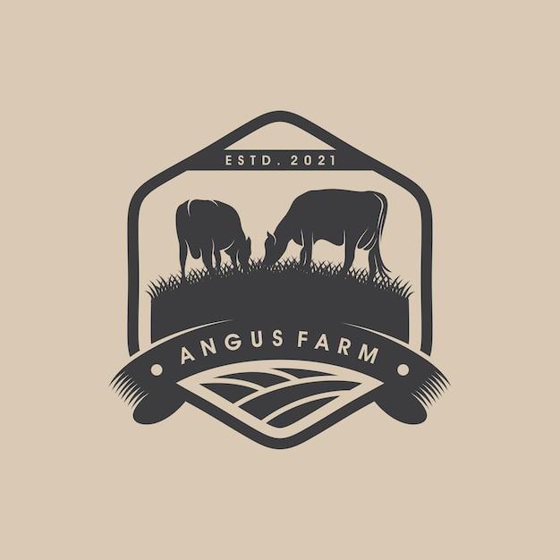 Logo vintage dell'allevamento di bestiame