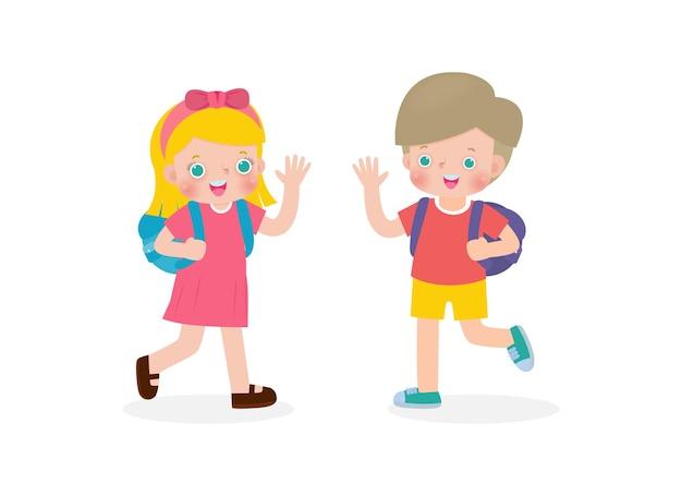 Bambini caucasici con lo zaino che salutano i personaggi dei cartoni animati dei compagni di scuola ragazzo e ragazza