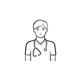 Medico caucasico con icona di doodle di contorno disegnato a mano dello stetoscopio. personale medico che lavora nel sistema medico e sanitario. illustrazione di schizzo vettoriale per stampa, web e mobile su priorità bassa bianca.