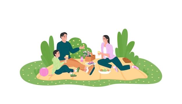 Famiglia caucasica sul banner web picnic 2d, poster