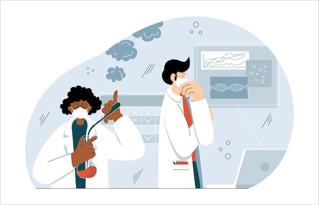 Bioingegneri afroamericani maschi caucasici nella moderna cella covid di ricerca di laboratorio biochimico
