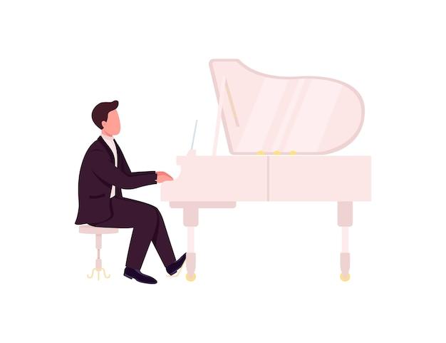 Carattere senza volto di colore piatto del pianista caucasico. il musicista classico suona un concerto da solista. esibizione musicale. illustrazione di cartone animato isolato pianista per web design grafico e animazione