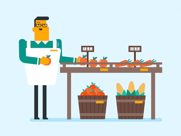 Venditore ambulante caucasico con frutta e verdura