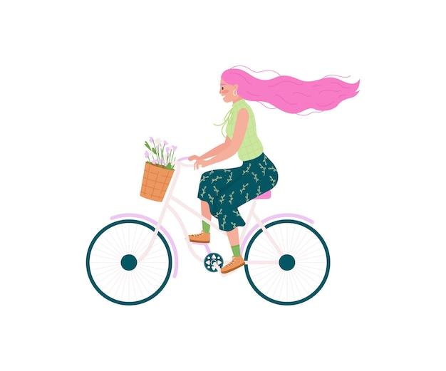 Donna caucasica in bicicletta carattere piatto dettagliato. ragazza in bici, fiori nel cestino. fumetto isolato di attività all'aperto di primavera