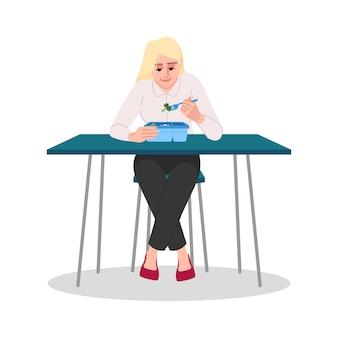 Donna caucasica che mangia l'illustrazione di vettore di colore rgb semi piatto di broccoli. giovane donna d'affari, impiegato, studente universitario in pausa pranzo isolato personaggio dei cartoni animati su sfondo bianco