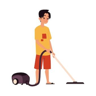 Giovane caucasico e ragazzo che passano l'aspirapolvere a casa, la famiglia e il concetto di pulizia. illustrazione con uomo delle pulizie.