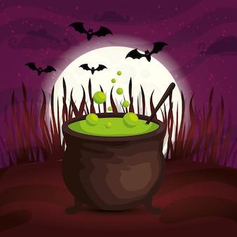 Calderone con i pipistrelli che volano nell'illustrazione di halloween della scena
