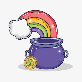 Calderone con moneta d'oro trifoglio e arcobaleno