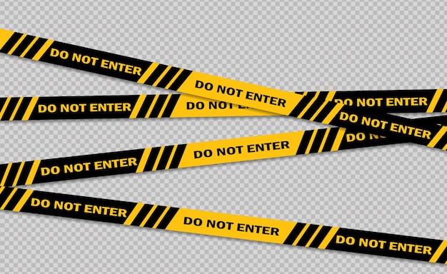 Linea di avvertenza e pericolo linea di segnale di attenzione dei nastri di avvertimento nero e giallo della polizia