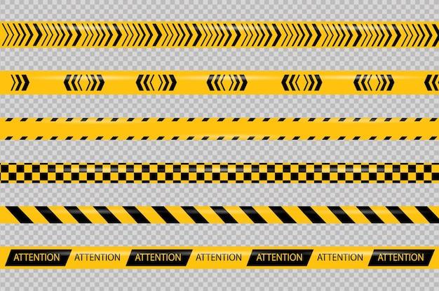 Linea di attenzione e pericolo linea di segnale di attenzione dei nastri di avvertimento della polizia nera e gialla