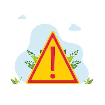 Icona di attenzione o segno in stile piano isolato. simbolo di avvertimento segnale di attenzione di avvertimento di pericolo segnale di avvertimento warnzeichen. segnale di avvertimento di pericolo con il simbolo del punto esclamativo. illustrazione vettoriale