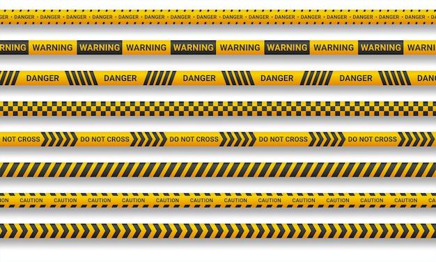 Linea di attenzione e nastri di pericolo su sfondo bianco