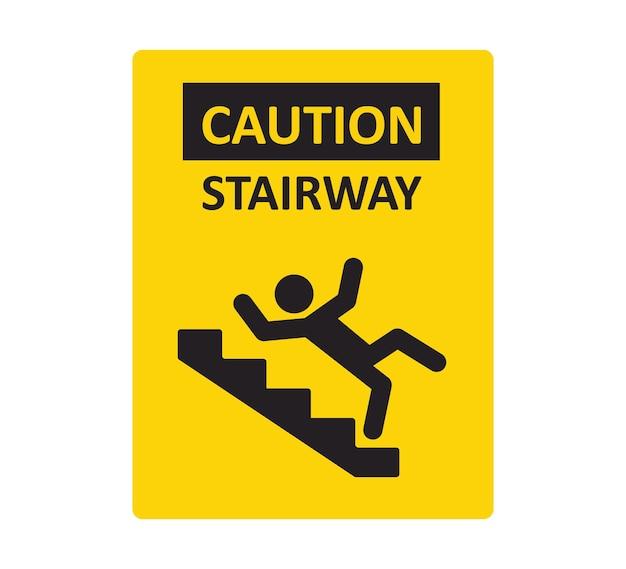 Segnale di attenzione per le scale. un uomo che cade dalle scale. un segnale di avvertimento di pericolo. scale scivolose. illustrazione vettoriale isolato su sfondo bianco
