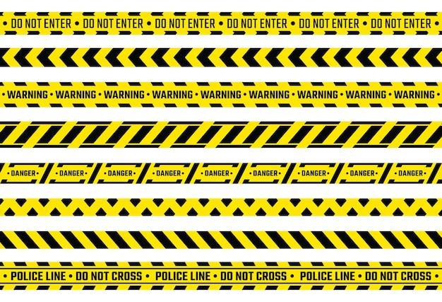 Nastro di cautela. nastro di attenzione giallo con segnali di pericolo, protezione dalle prove della polizia