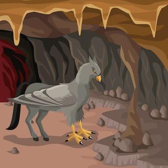 Fondo interno della caverna con la creatura mitologica greca dell'ippogrifo Vettore Premium