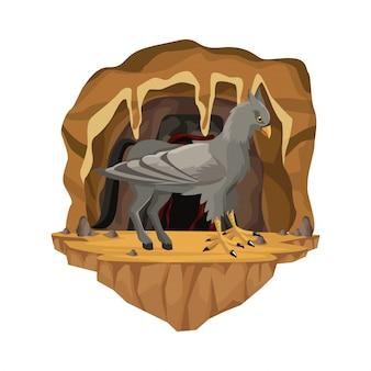 Scena interna della grotta con creatura mitologica greca dell'ippogrifo