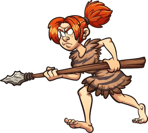Cacciatore di donna delle caverne che cammina tenendo una lancia.