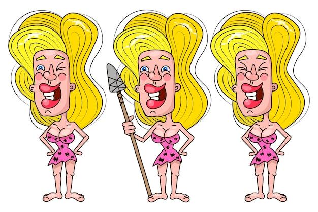 Set di donne delle caverne, personaggio dell'età della pietra, illustrazione vettoriale colorata