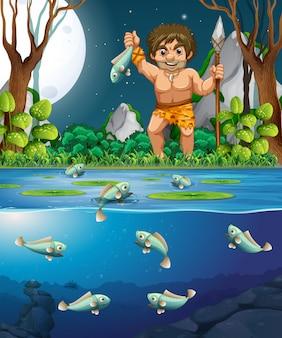 Un uomo delle caverne che pesca pesce