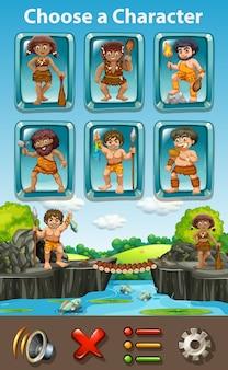 Modello di gioco characters cavernicolo