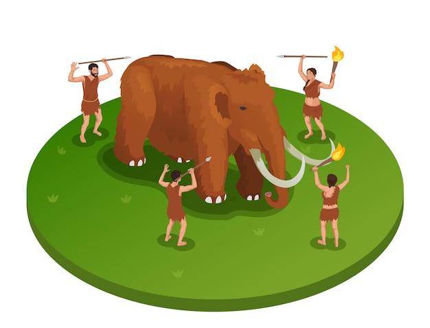 Illustrazione isometrica delle persone primitive preistoriche del cavernicolo con mammut che viene attaccato da un gruppo di persone