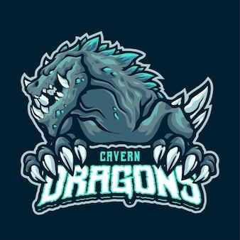 Modello di logo della mascotte del drago della caverna