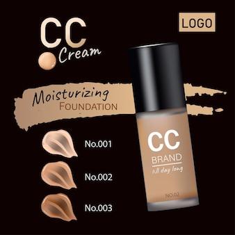 Cc cream ads tubo bianco perla con liquido cremoso in 3d su sfondo nero