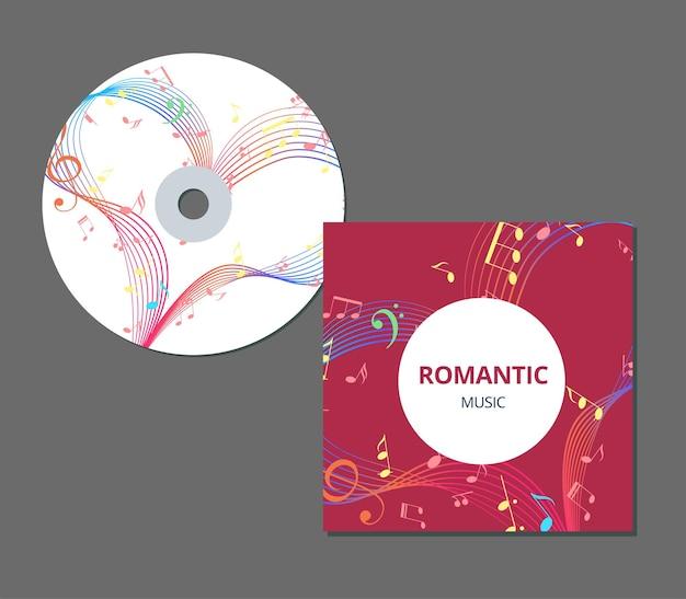Disegno del modello di copertina del cd con il vettore di musica romantica del cuore di musica