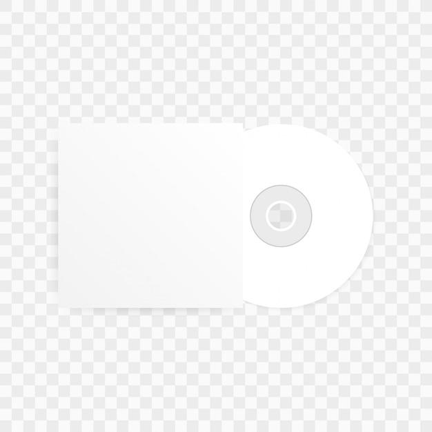 Il compact disc cd-dvd e il modello di custodia in carta bianca vuota con ombra su trasparente