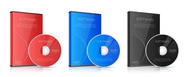 Illustrazione di cd e dvd su sfondo bianco