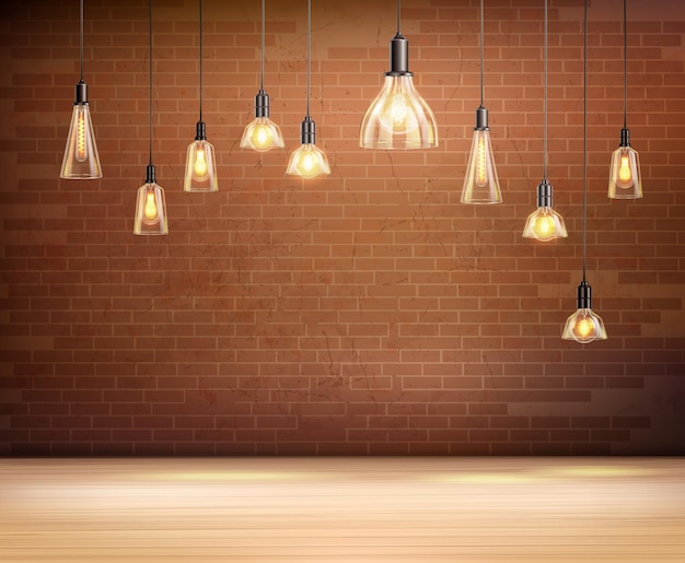 Lampadine a soffitto nella stanza vuota con illustrazione realistica del muro di mattoni marroni
