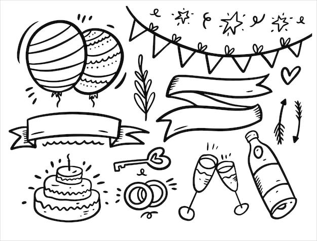 Celebrare e buon compleanno doodles insieme di elementi isolato su bianco
