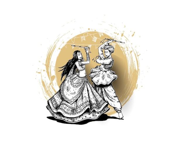 Festeggia il festival navratri con balli garba men & woman design vector, hand drawn vector illustration.