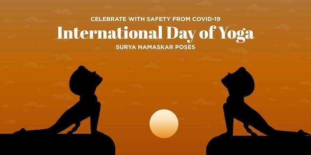 Festeggia con sicurezza dalla covid 19 giornata internazionale di yoga surya namaskar posa banner design illustrazione