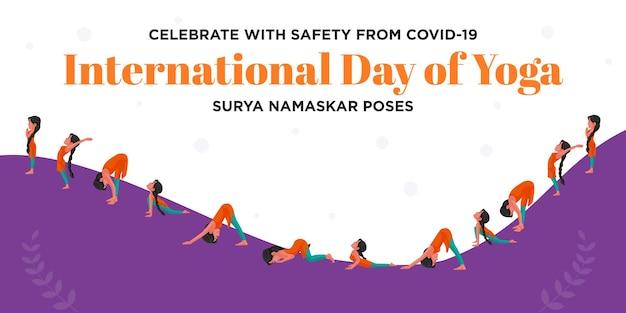 Festeggia con sicurezza dalla covid 19 giornata internazionale di yoga surya namaskar posa banner design