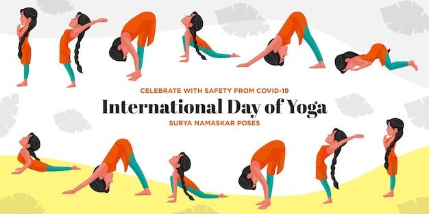 Festeggia con sicurezza dalla covid 19 giornata internazionale di yoga surya namaskar pone il modello di banner