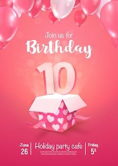 Celebrando di 10 anni di compleanno illustrazione 3d vettoriale. celebrazione dell'anniversario di dieci anni
