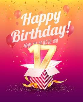 Celebrando il 17 ° compleanno di anni illustrazione vettoriale. diciassette festeggiamenti