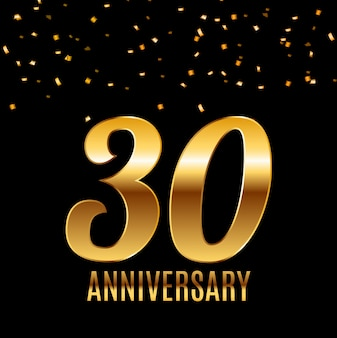 Celebrando il disegno del modello dell'emblema del 30 ° anniversario con sfondo di poster di numeri d'oro. illustrazione vettoriale