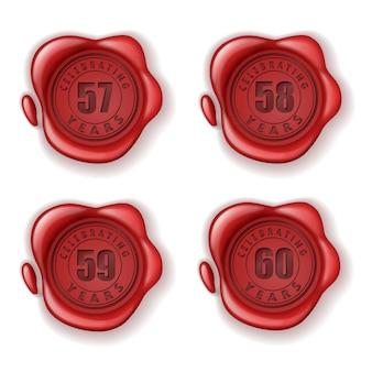 Celebrando il sigillo di cera biglietto d'auguri 57-60 anni