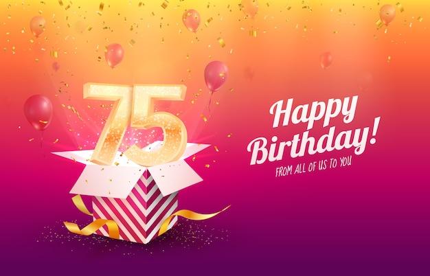 Celebrando il 75 ° compleanno di anni illustrazione vettoriale. celebrazione del settantacinquesimo anniversario