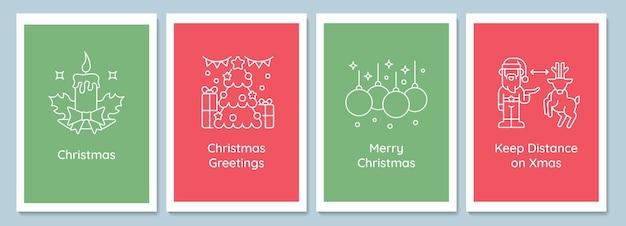 Celebrando le cartoline delle tradizioni natalizie con l'insieme dell'icona del glifo lineare. biglietto di auguri con disegno vettoriale decorativo. poster in stile semplice con illustrazione creativa di lineart. volantino con augurio di vacanza