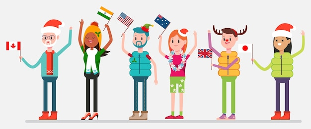 Celebrare il natale nel mondo. persone felici in costumi da festa con bandiere di canada, stati uniti, australia, india, regno unito e giappone. personaggi di uomini e donne sullo sfondo.