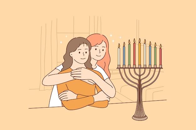 Celebrando il santo concetto di vacanza di hanukkah