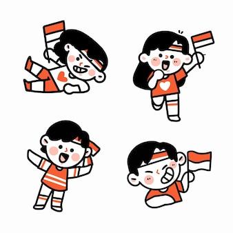 Celebrando l'anniversario indonesiano caratteri doodle illustration 2 set