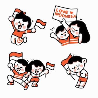 Celebrando l'anniversario indonesiano caratteri doodle illustration 3 set